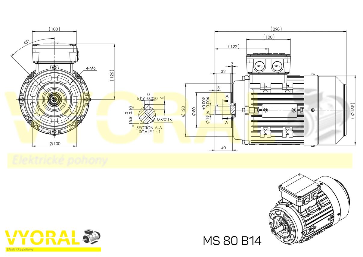 rozmerový výkres elektromotor 80B14
