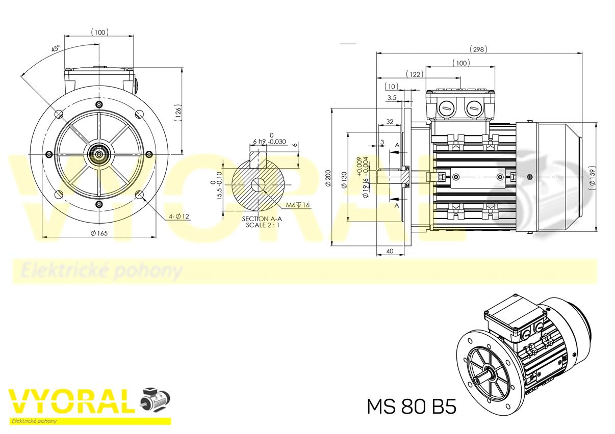 rozmerový výkres elektromotor 80B5