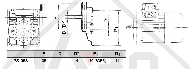 rozmerový výkres čelná medziprevodovka PS063